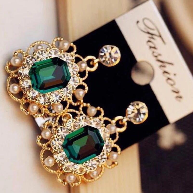 女性のファッションジュエリーのための真珠のイヤリングクリスタル幾何学的な正方形のドロップピアス_画像1