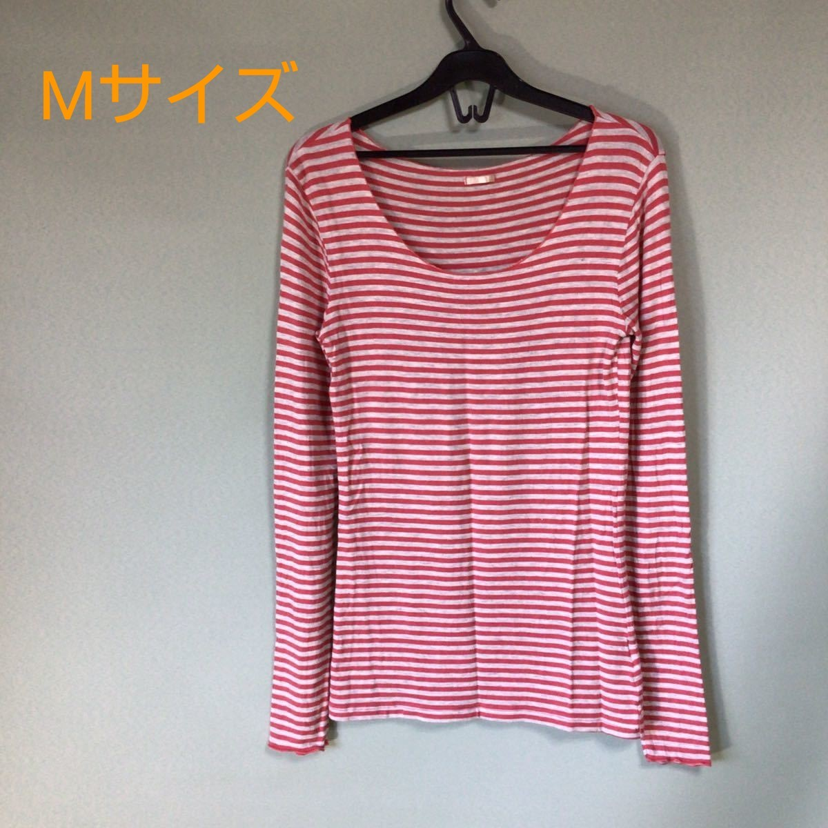 長袖カットソー ボーダー柄 Mサイズ 赤×グレー色 長袖カットソー 長袖T