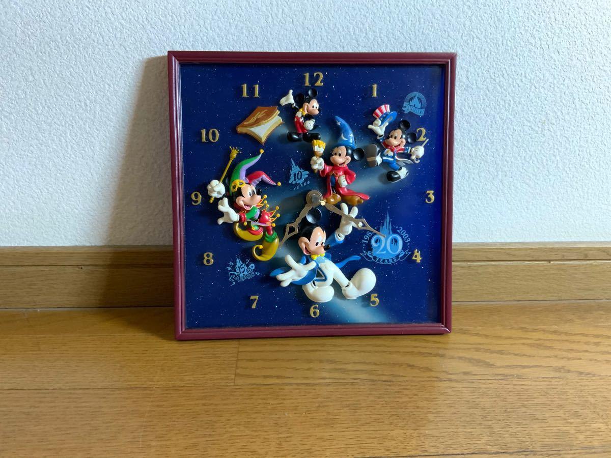 【希少】ディズニーファン必見! 東京ディズニーランド 20年記念 掛け時計