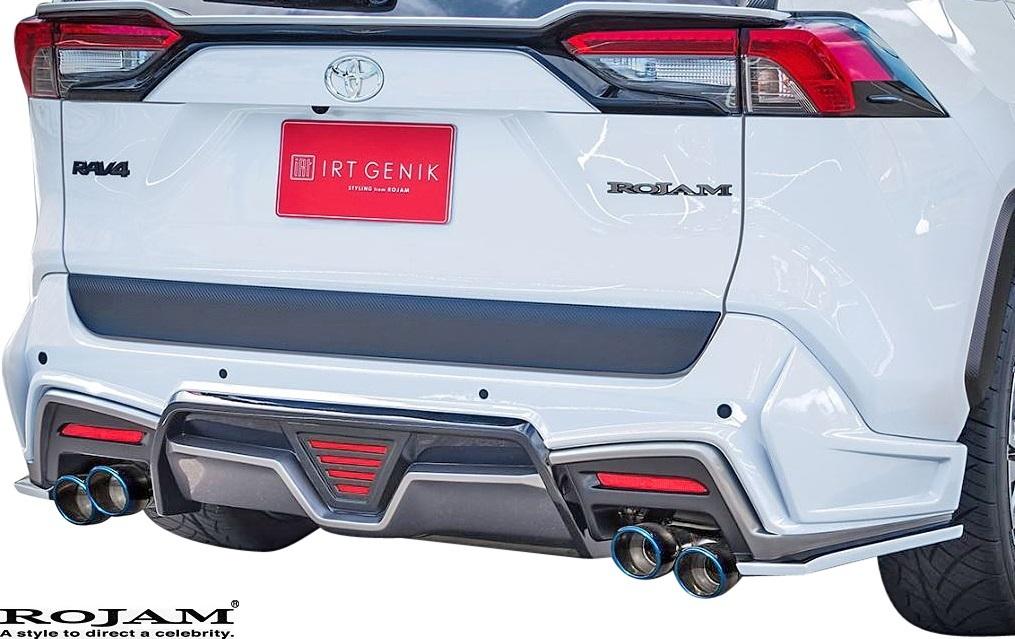 【M's】50 RAV4 X/G/G-Z/アドベンチャー (2019/4-) ROJAM リヤハーフバンパースポイラー LED.ver / FRP ロジャム エアロ 22-rb-ra501_画像1