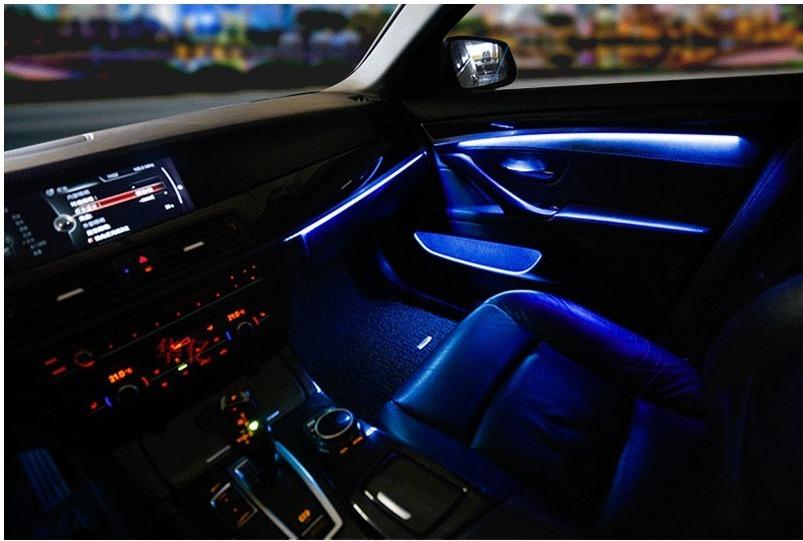 ★☆【激安!!】 BMW 5シリーズ F10 F11 2010-2017 アンビエント ドアライト LED (2色:ブルーオレンジ切替) 室内灯 ルームランプ☆★