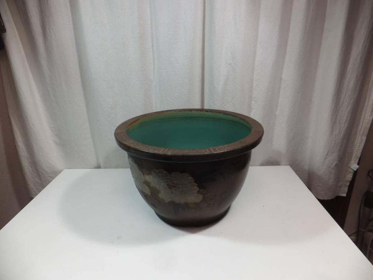 水抜き水栓あり 睡蓮鉢 火鉢 水鉢 メダカ 金魚など 水槽 胴径55cm×高さ33cm 陶器製 昭和アンティーク 先日までメダカを飼っていました