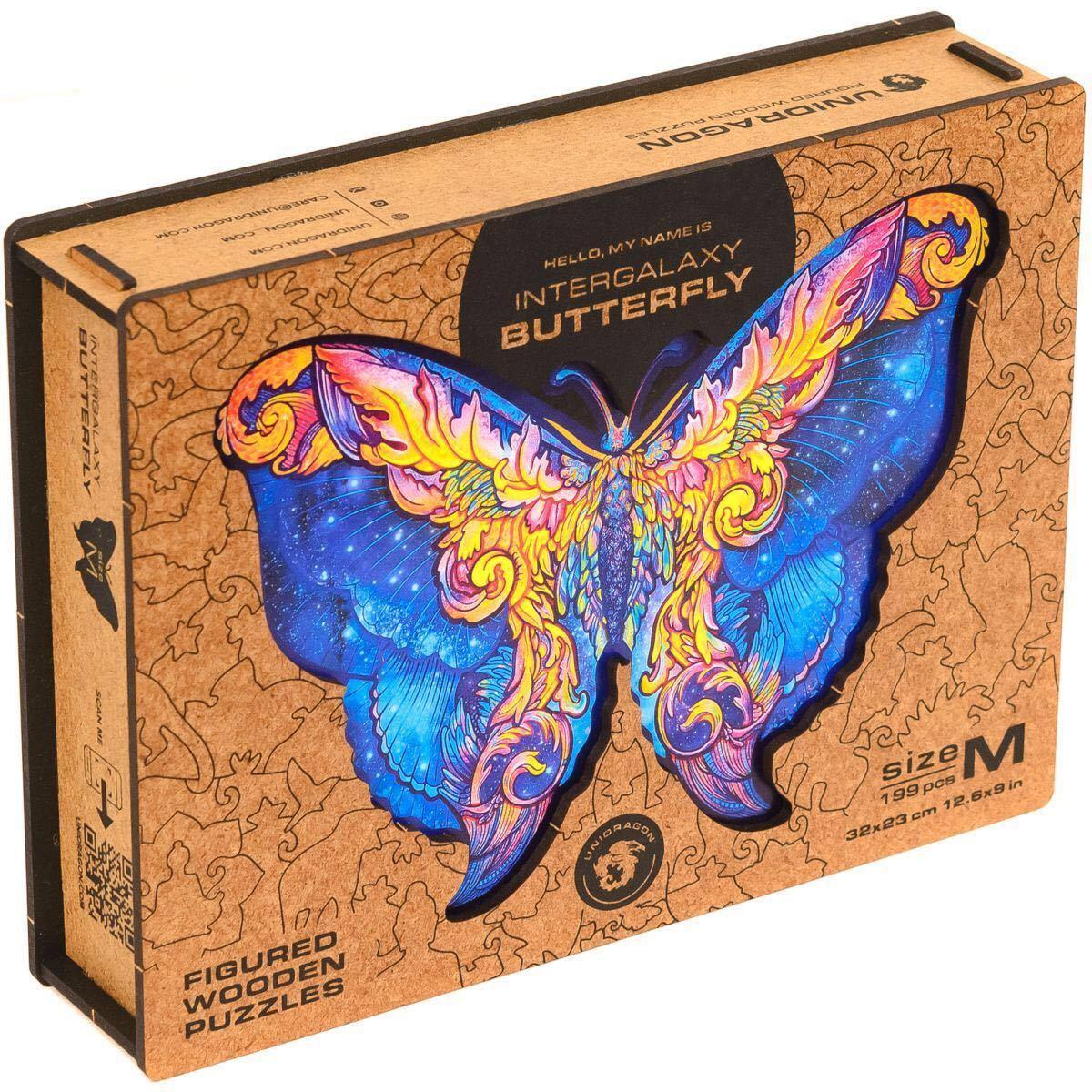 輸入品 木製パズル 壁掛け 壁飾り 蝶々 バタフライ Unidragon