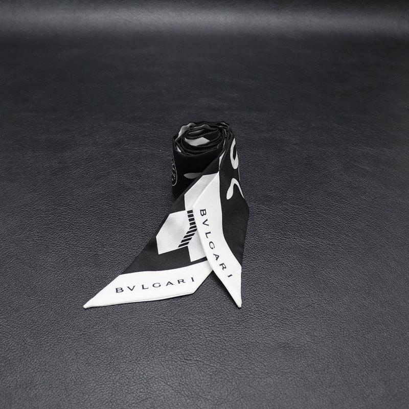 ★ 【中古】 BVLGARI × FRAGMENT by Hiroshi Fujiwara セルペンティ FRGMT ツイリー 243893 シェリー ブラック ホワイト スカーフ