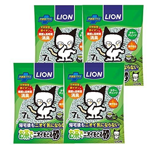 7L×4個 ライオン (LION) お茶でニオイをとる砂 猫砂 7L×4個 (ケース販売)_画像1