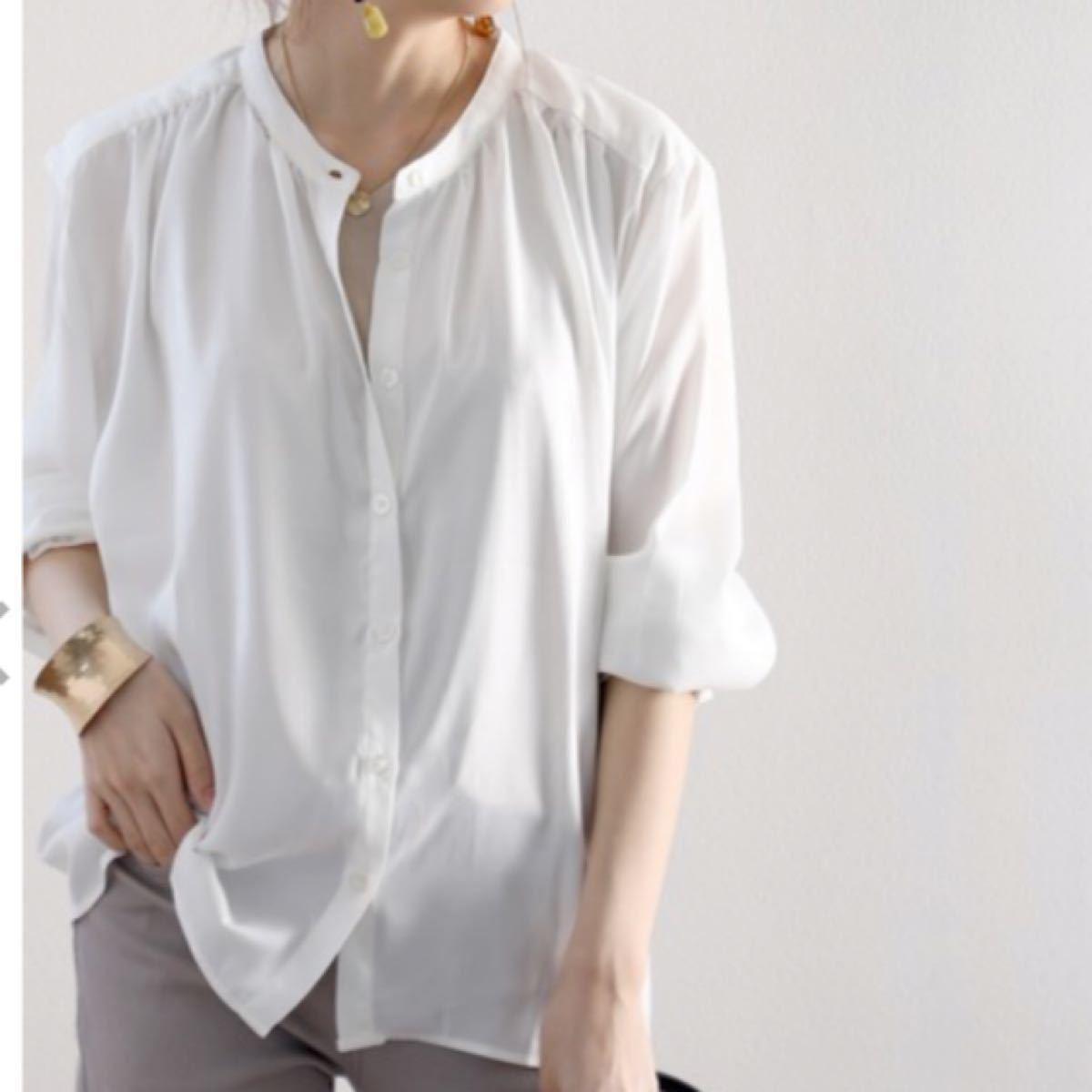 シャツ ブラウス ギャザーコン袖 ミドル丈無地バンドカラーシャツ(長袖)