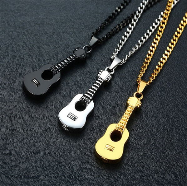 1円スタート新品 メンズネックレス ギターデザイン ペンダント アクセサリー ファション 3色選択 シルバー _画像7