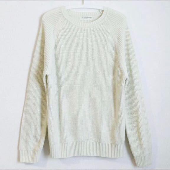 ニット セーター シンプル チャオパニック CIAOPANIC 定番 美品 L メンズ ホワイト ニットセーター_画像1