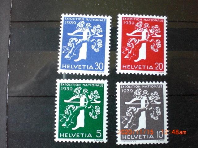 チューリッヒ国内博記念ー弓と矢 8種完 未使用 1939年 スイス共和国 VF/NH 寄付金付き 仏語・イタリア語版_画像1