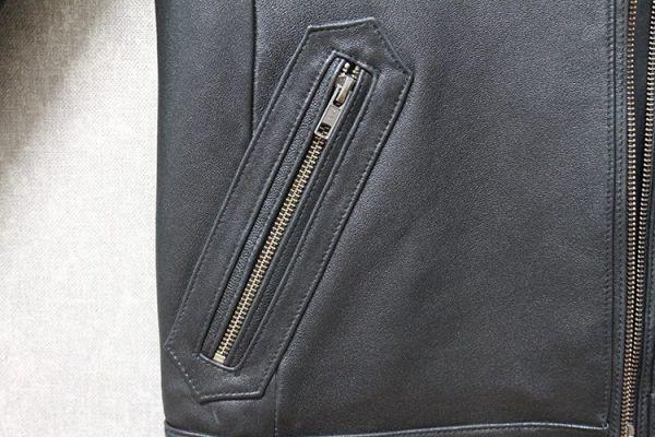 シープスキン ミニマムスタイル シングルライダース レザージャケット ブラック 4XLサイズ(46) イタリアンレザー ラム 羊革_画像7