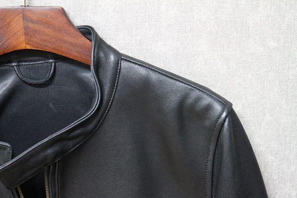シープスキン ミニマムスタイル シングルライダース レザージャケット ブラック 4XLサイズ(46) イタリアンレザー ラム 羊革_画像6