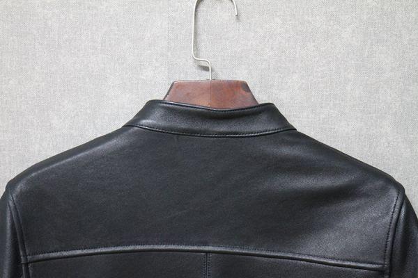 シープスキン ミニマムスタイル シングルライダース レザージャケット ブラック 4XLサイズ(46) イタリアンレザー ラム 羊革_画像5