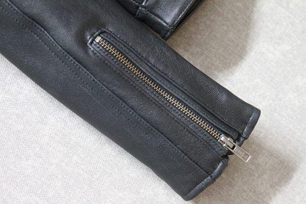 シープスキン ミニマムスタイル シングルライダース レザージャケット ブラック 4XLサイズ(46) イタリアンレザー ラム 羊革_画像9