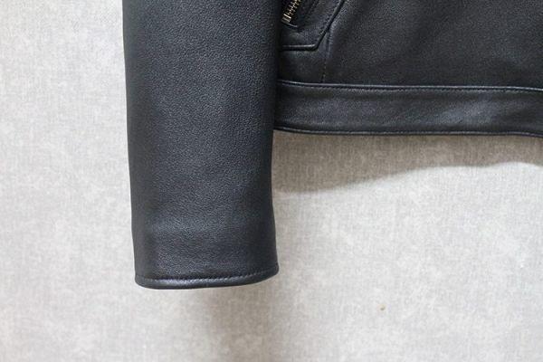 シープスキン ミニマムスタイル シングルライダース レザージャケット ブラック 4XLサイズ(46) イタリアンレザー ラム 羊革_画像8