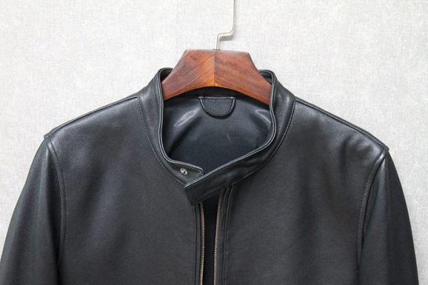 シープスキン ミニマムスタイル シングルライダース レザージャケット ブラック 4XLサイズ(46) イタリアンレザー ラム 羊革_画像4