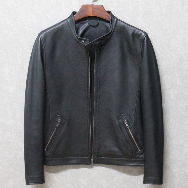 シープスキン ミニマムスタイル シングルライダース レザージャケット ブラック 4XLサイズ(46) イタリアンレザー ラム 羊革_画像1