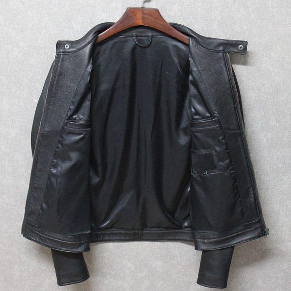 シープスキン ミニマムスタイル シングルライダース レザージャケット ブラック 4XLサイズ(46) イタリアンレザー ラム 羊革_画像3