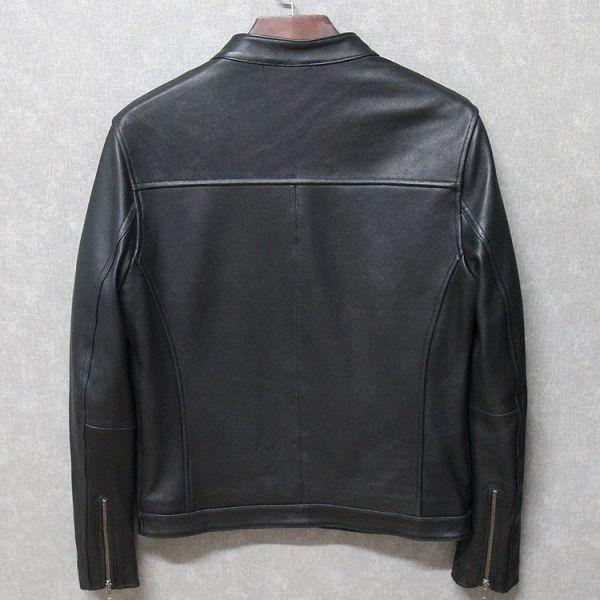 シープスキン ミニマムスタイル シングルライダース レザージャケット ブラック 4XLサイズ(46) イタリアンレザー ラム 羊革_画像2