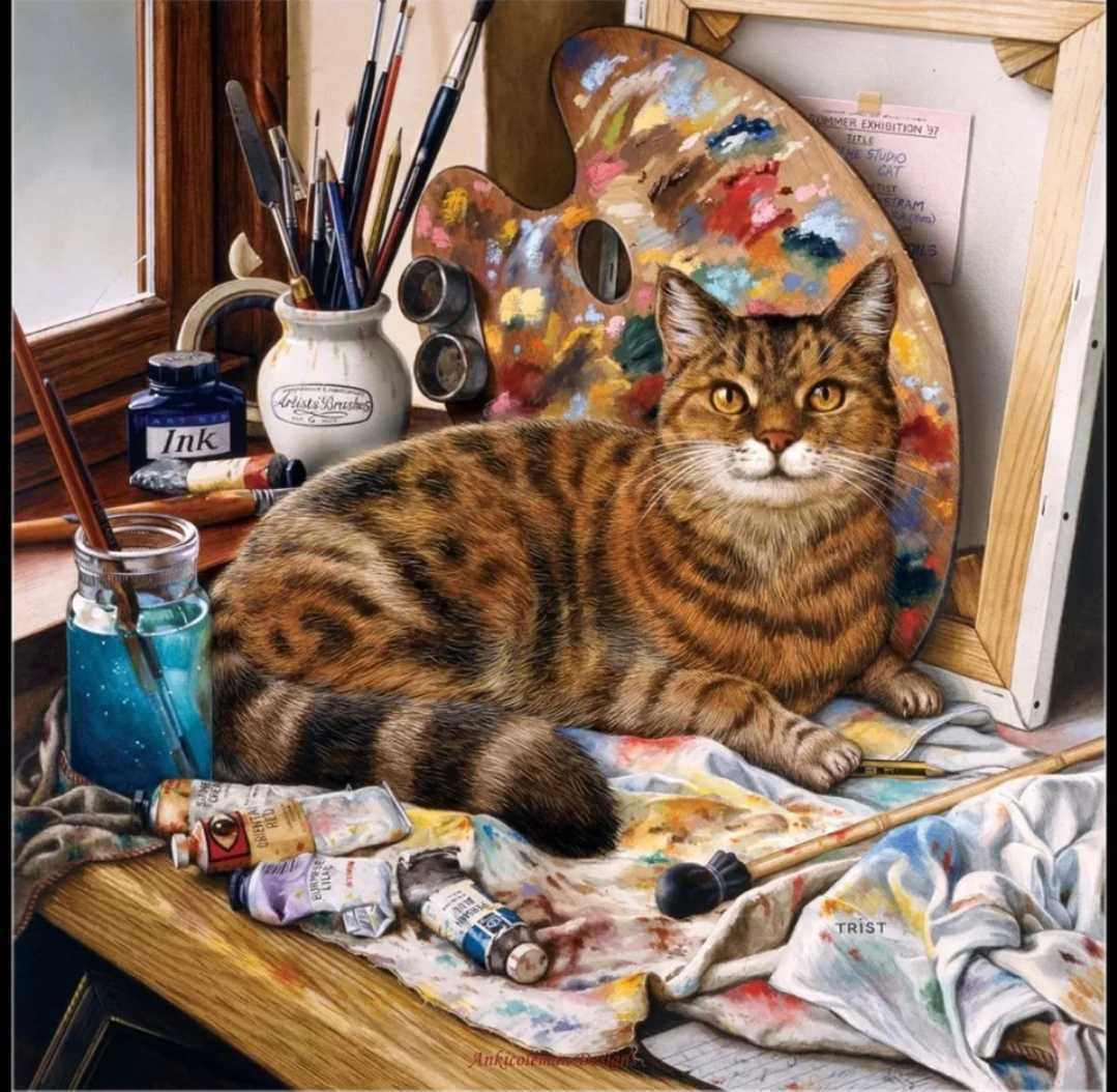 クロスステッチキット 芸術の猫アトリエキャット ねこ ネコ 14CT 33cm×33cm 刺繍キット