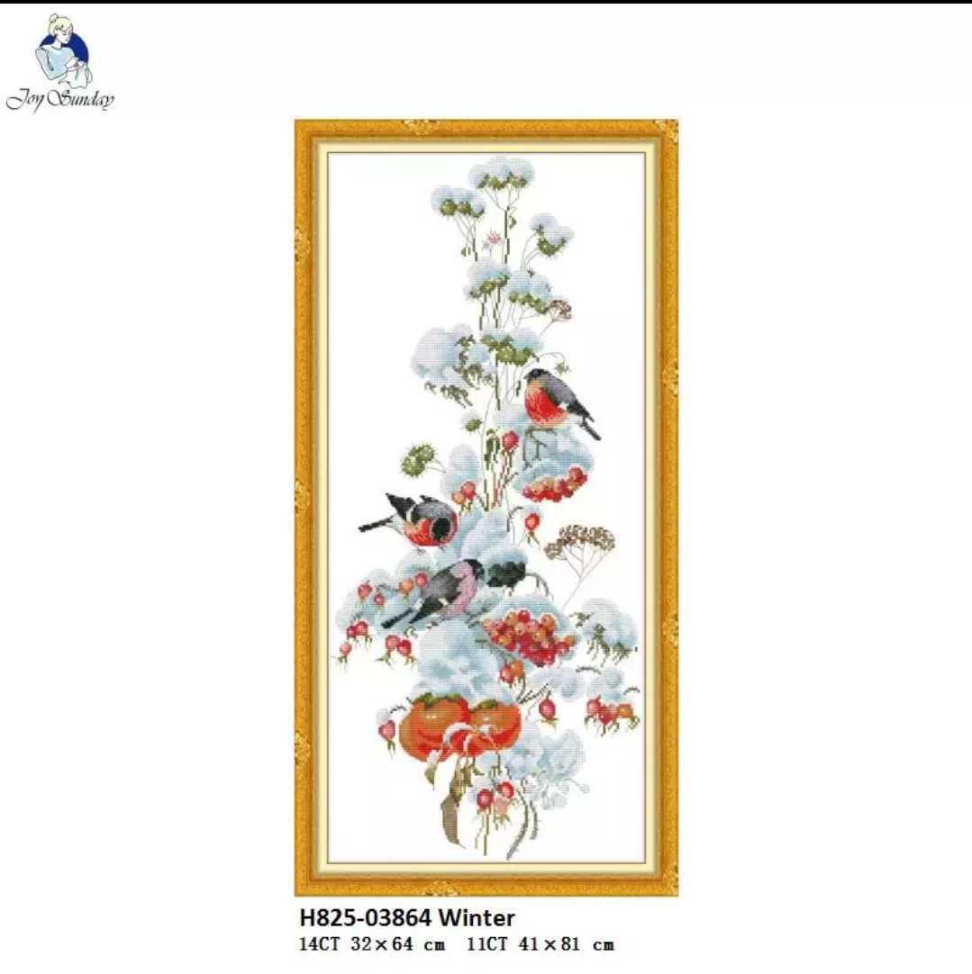 クロスステッチ ウソと冬越し 雪 キット刺繍 14CT 32×64cm 小鳥