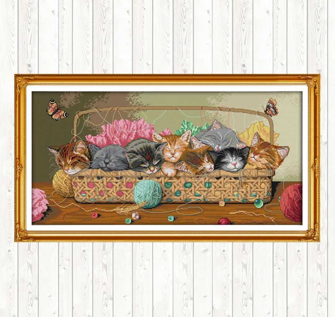 クロスステッチキット 籠の中ですやすや子猫 14CT 67×37cm 刺繍キット ねこ ネコ 猫