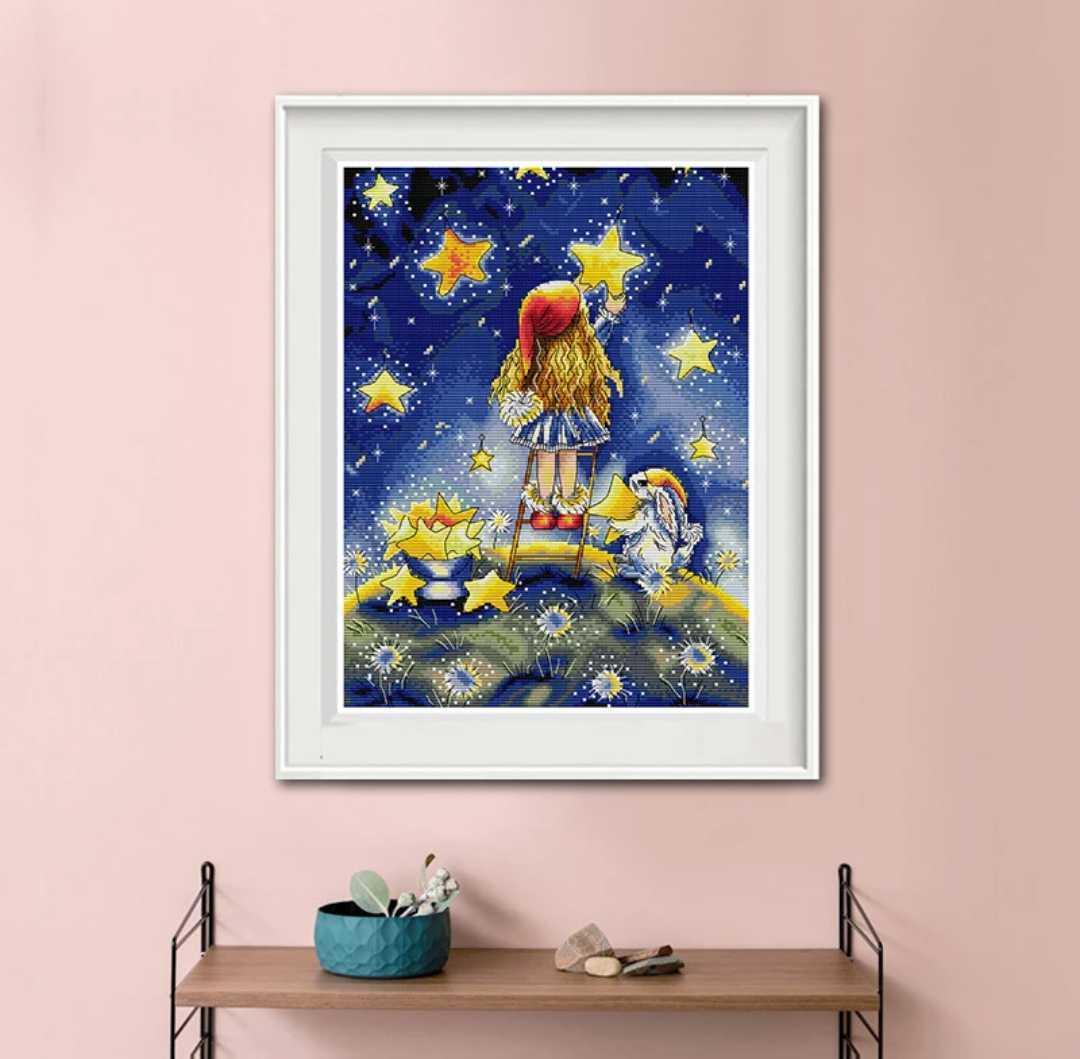 クロスステッチ 星を飾る少女 14CT 32×41cm キット 刺繍