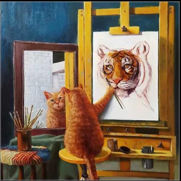 クロスステッチキット 自画像 芸術の猫 14CT 33×33cm 刺繍キット ねこ ネコ お絵描き