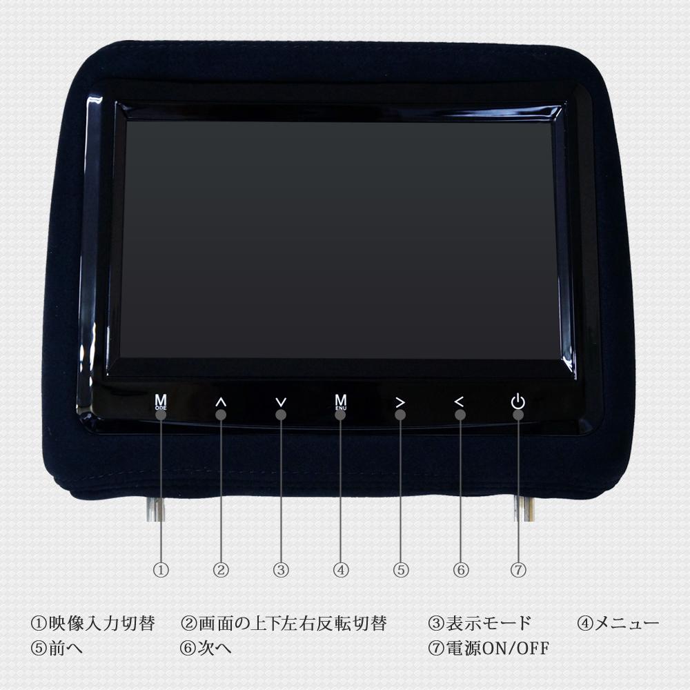 限定価格 9インチ ヘッドレストモニター分配器セット モケットタイプ 2個セット グレー H771G914VP_H771-05