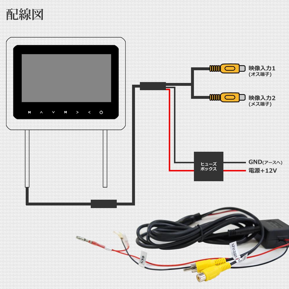 限定価格 9インチ ヘッドレストモニター分配器セット モケットタイプ 2個セット グレー H771G914VP_H771-06