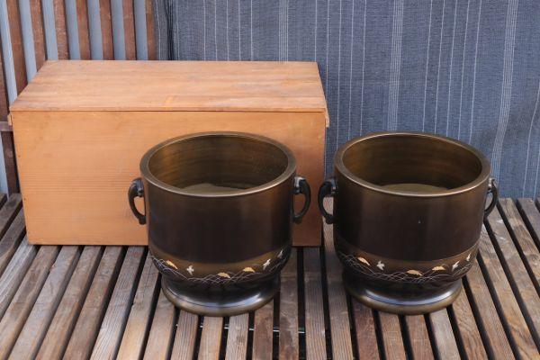 真鍮 唐銅 唐金 双耳 火鉢 一対 彫刻 象嵌 稲 手あぶり 囲炉裏 暖炉 古民具 古道具 金属工芸 レトロ アンティーク雑貨 茶道具 茶室