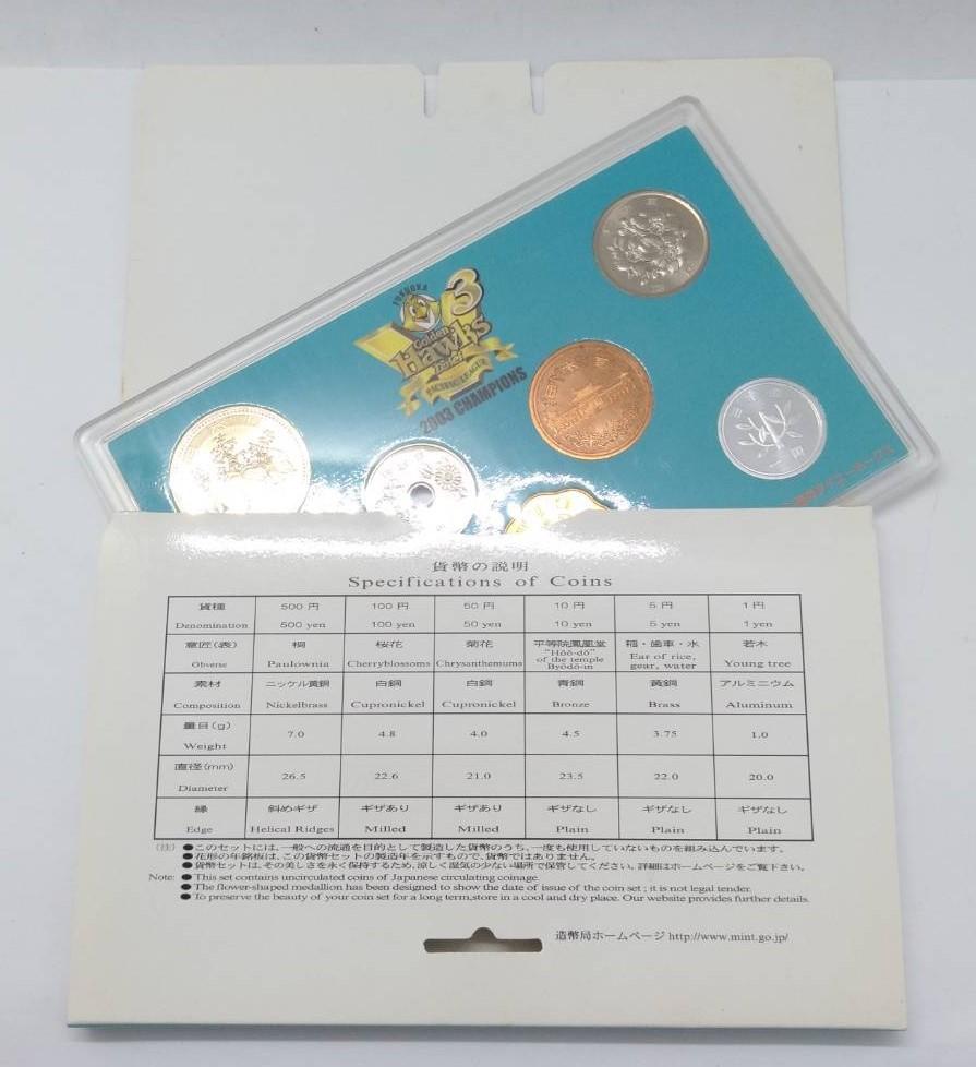 激レア!2003年 パシフィックリーグ優勝記念 福岡ダイエーホークス 貨幣セット 平成15年 造幣局 硬貨 記念硬貨 貨幣 メダル コイン MH28ZCC_画像6