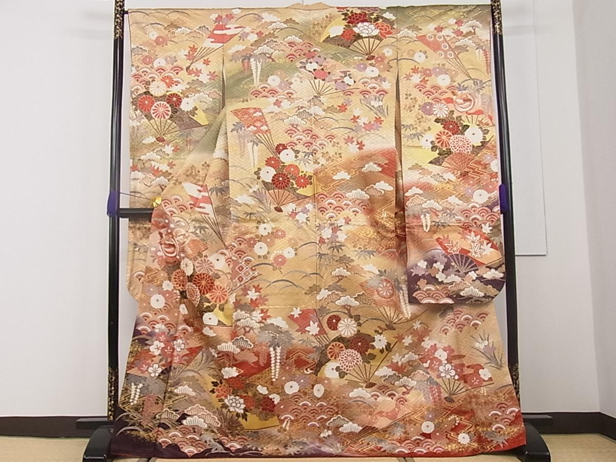 平和屋着物■豪華振袖 駒刺繍 吉祥扇面花文 暈し染め 金彩 逸品 r1079
