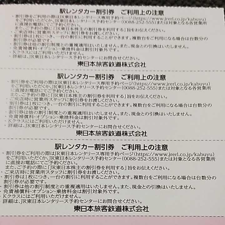JR東日本株主サービス券 駅レンタカー割引券 20%割引券 3枚単位_画像2