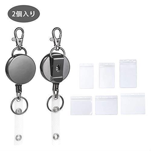 Prompt decision! New-Stretched pull buckle improvement version, Hardware stainless steel nested holder with hook, stretch key disc and key chain, business card