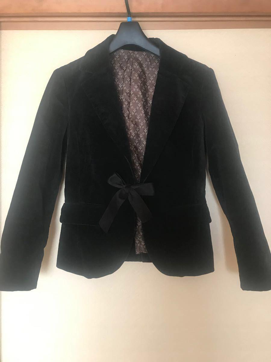 ベロア黒テーラードジャケット