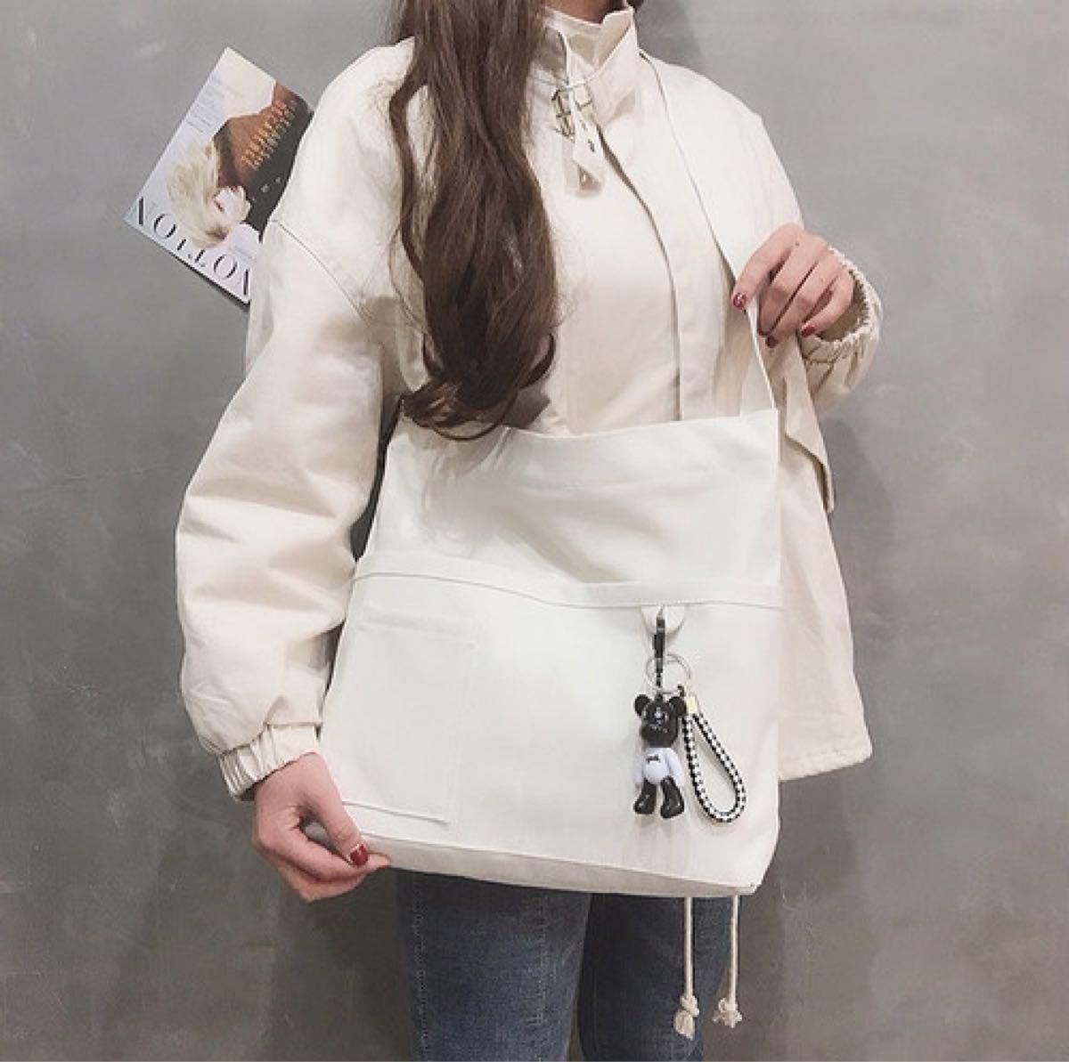 キャンバス トートバッグ ショルダーバッグ ホワイト