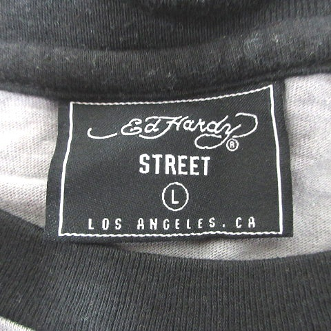 エドハーディー Ed Hardy STREET Tシャツ カットソー 半袖 クルーネック バックプリント 切替 L グレー 黒 ブラック /CT メンズ_画像6