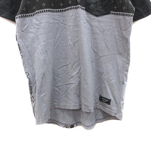 エドハーディー Ed Hardy STREET Tシャツ カットソー 半袖 クルーネック バックプリント 切替 L グレー 黒 ブラック /CT メンズ_画像3