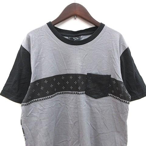 エドハーディー Ed Hardy STREET Tシャツ カットソー 半袖 クルーネック バックプリント 切替 L グレー 黒 ブラック /CT メンズ_画像2