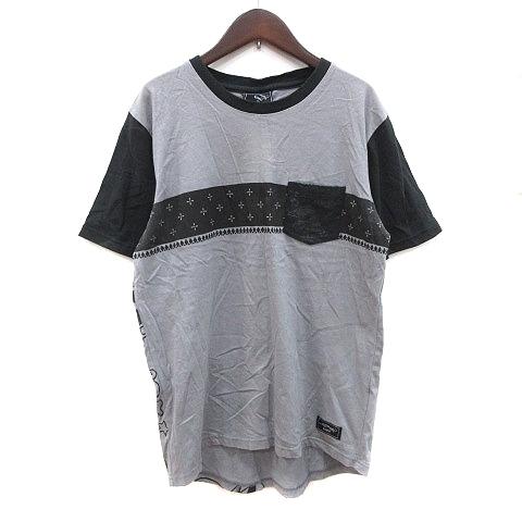 エドハーディー Ed Hardy STREET Tシャツ カットソー 半袖 クルーネック バックプリント 切替 L グレー 黒 ブラック /CT メンズ_画像1