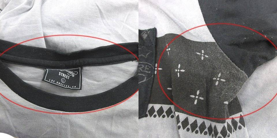 エドハーディー Ed Hardy STREET Tシャツ カットソー 半袖 クルーネック バックプリント 切替 L グレー 黒 ブラック /CT メンズ_画像5