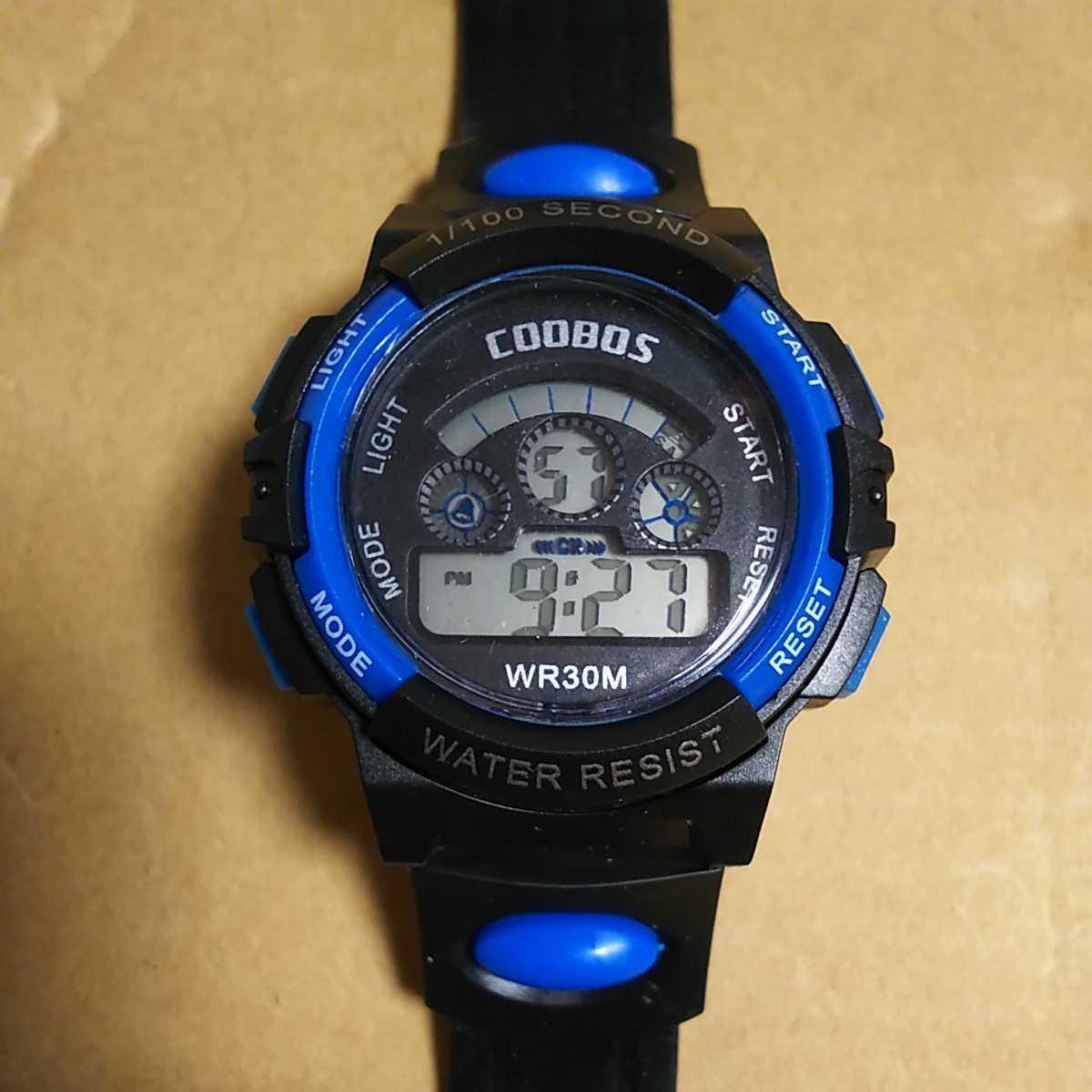 ◆デジタル腕時計 防水腕時計 スポーツウォッチ ストップウォッチ機能付 30M防水 ブルー_画像1