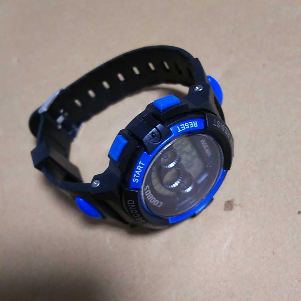 ◆デジタル腕時計 防水腕時計 スポーツウォッチ ストップウォッチ機能付 30M防水 ブルー_画像3