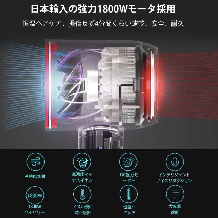 【ダイソン級のハイパワー!★最新日本製1800Wモーター搭載!★高濃度マイナスイオン★キューティクルを徹底保護♪】ヘアドライヤー