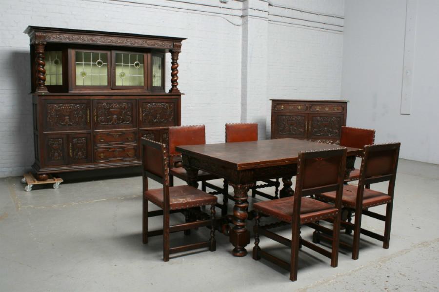 品番2026ヨーロッパ市場在庫品アンティーク家具ダイニング9点セット現地在庫商品1920年代ベルギー原産オーク製_画像1