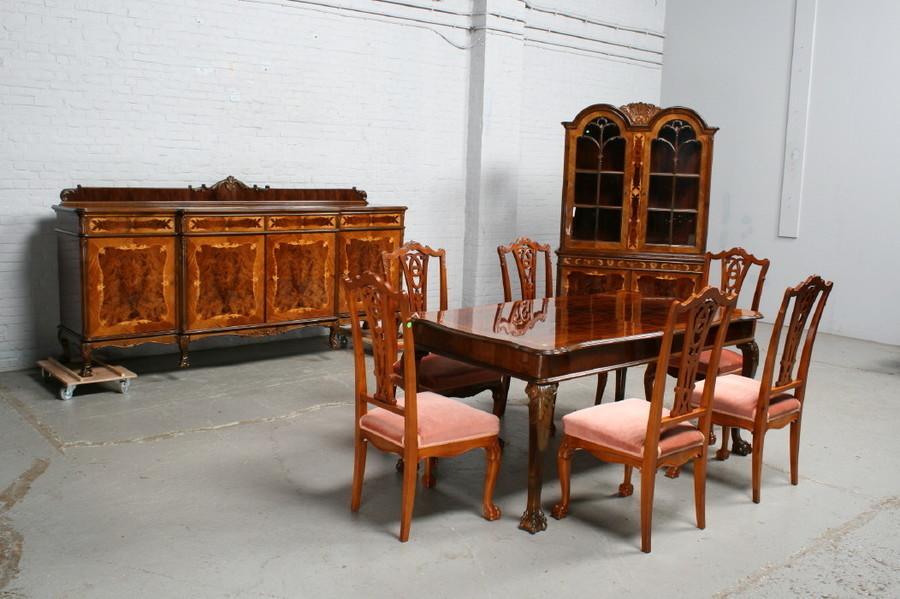 品番7181ヨーロッパ市場在庫品アンティーク家具ダイニング9点セット現地在庫商品1940年代ベルギー原産ウォールナット製_画像1