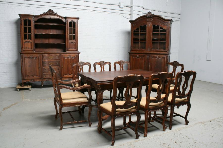 品番7302ヨーロッパ市場在庫品アンティーク家具ダイニング11点セット現地在庫商品1900年代フランス原産オーク製_画像1