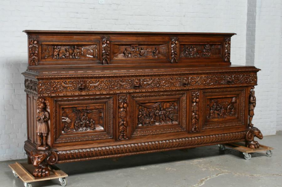 品番6572aヨーロッパ市場在庫品アンティーク家具ダイニング10点セット現地在庫商品1920年代ベルギー原産オーク製_画像2