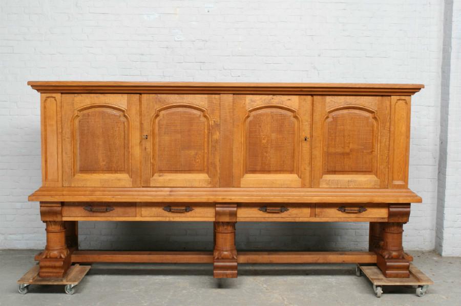 品番6905ヨーロッパ市場在庫品アンティーク家具ダイニング9点セット現地在庫商品1920年代フランス原産オーク製_画像3