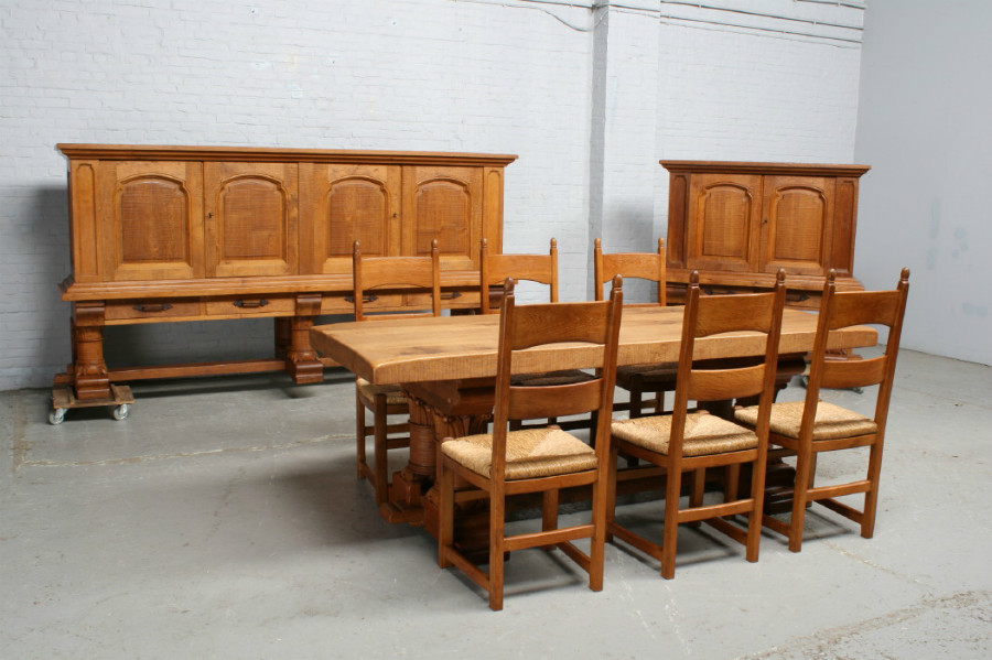 品番6905ヨーロッパ市場在庫品アンティーク家具ダイニング9点セット現地在庫商品1920年代フランス原産オーク製_画像1